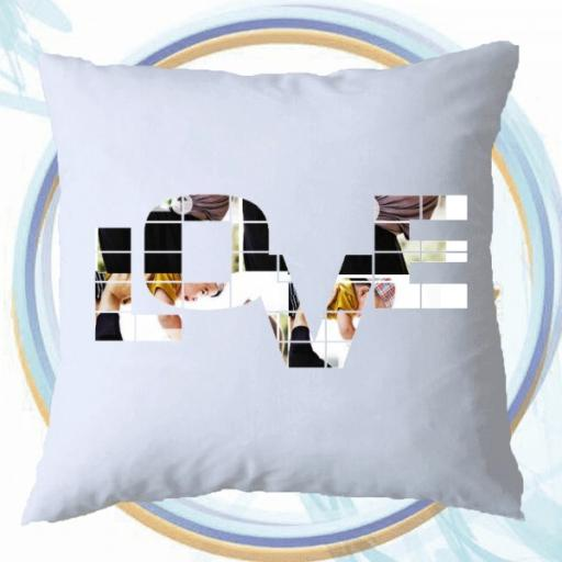 Personalised Photo Cushion with Text - LOVE