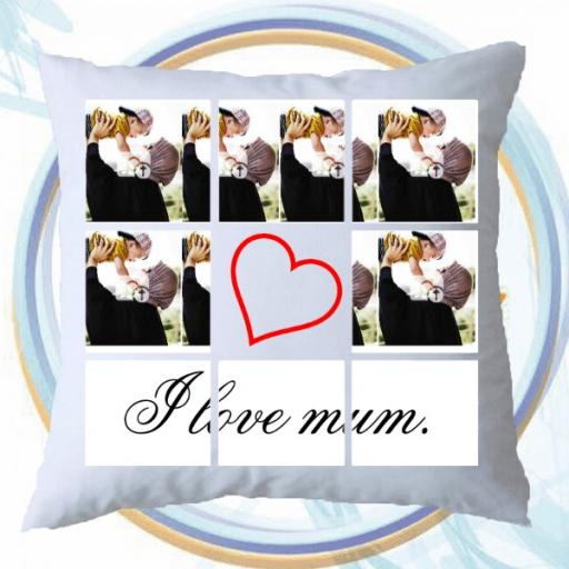 Personalised 8 Photo Collage Cushion - 8 Photos with a Heart