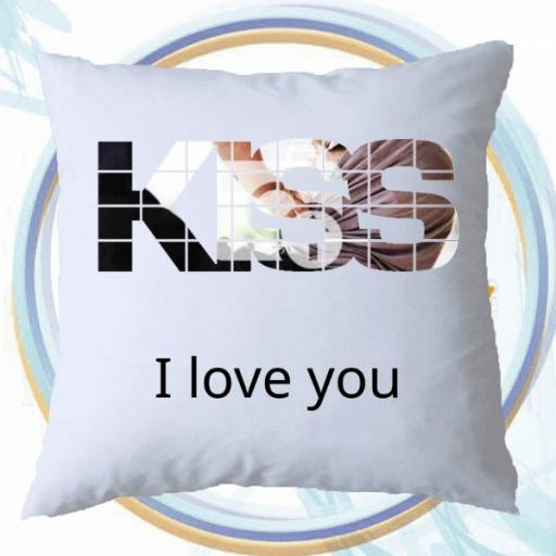 Personalised KISS Photo Cushion - Add Photo & Text