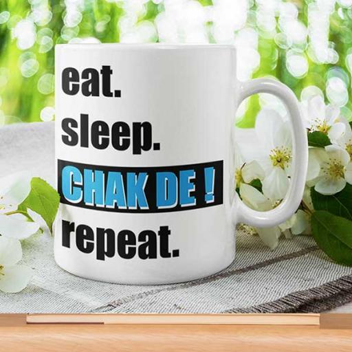 Personalised Funny Desi 'Eat Sleep CHAK DE Repeat' Mug