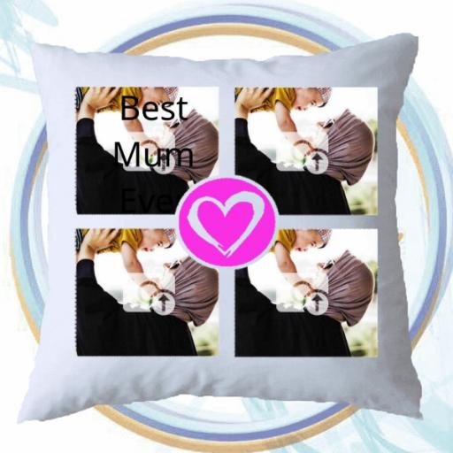 Personalised 3 Photo Cushion with Pink Heart - Add Photos & Text