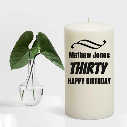 Birthday Candle - Personalised with Name and Year