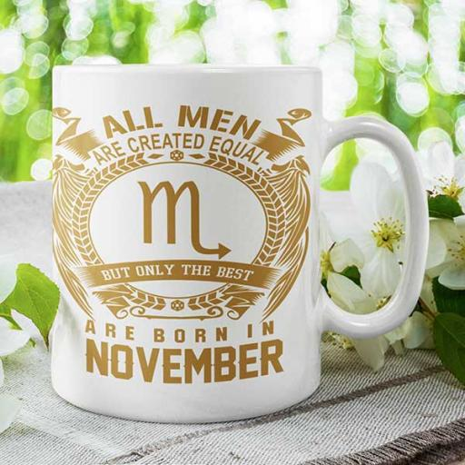 All Men are Created Equal But Only Best are Born in November - Personalised Birthday Mug