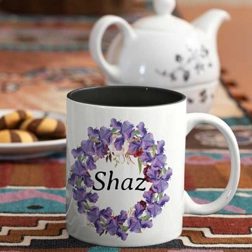 Personalised colour inside Yellow/White handle Name Mugs flowery borders