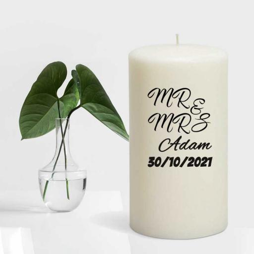 Mr and Mrs Personalised Couple Candle Gift