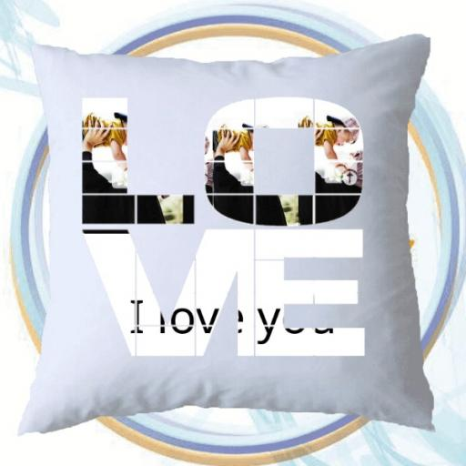 Personalised LOVE Photo Collage Cushion - Add Photos