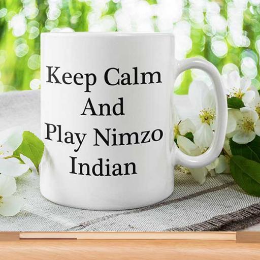 Personalised 'Keep Calm and Play Nimzo Indian' Desi Mug