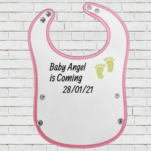 Pink Pocket Baby Bib with 'Angel is Coming' Design - Add Date