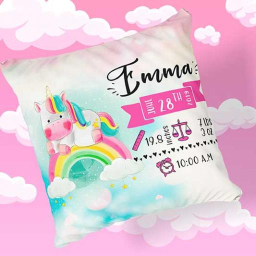 Personalised Newborn Baby Unicorn Design Cushion - Add Name, Date, Time, Weight