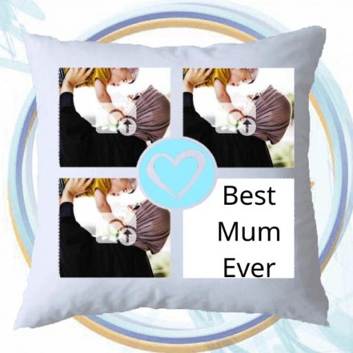 4 Photo Personalised Collage Cushion with a Heart in Centre