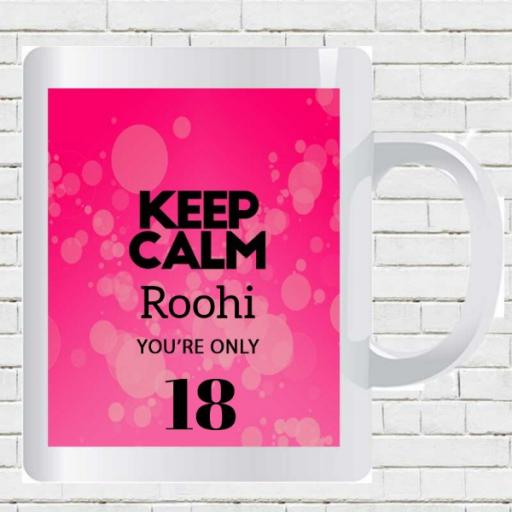 Keep Calm You're Only 30 - Personalised Birthday Mug - Pink Bubbles