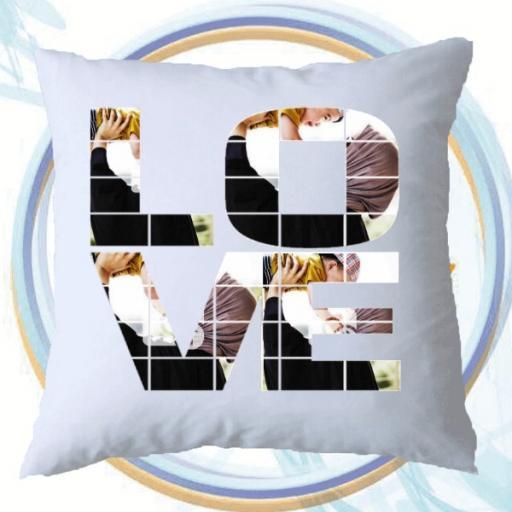 LOVE Photo Upload Personalised Cushion Gift
