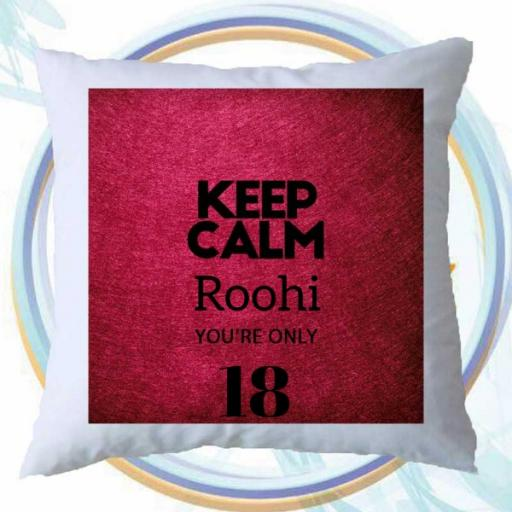 Keep Calm You're Only (AGE) - Personalised Birthday Cushion on Red Scarlet Design
