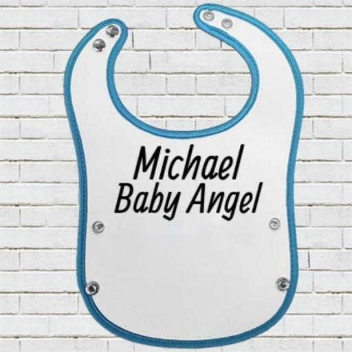 Blue Pocket Baby Bib - Personalise with Name/Text