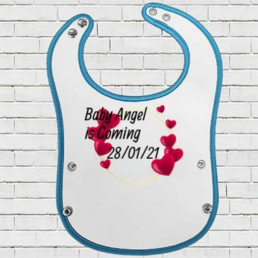 Blue Pocket Baby Bib with Hearts Design - Personalise with Name & Initial