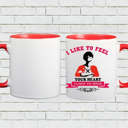 Personalised Colour Inside Mug Gift - 'I Like to Feel Your Heart'