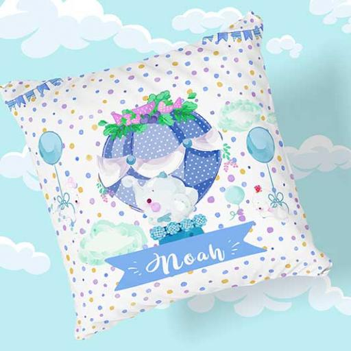 Personalised Newborn Elephant Baby Cushion - Add Name, Date, Time, Weight