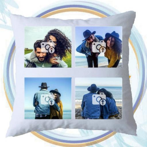 Personalised Cushion with 4 Photo Collage - Add Text