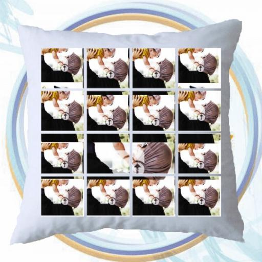 Personalised Multi Photo Collage Cushion - 16 Photos Collage