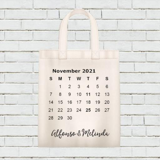 Personalised Calendar Tote Bag - November 2021 - Add Name / Text