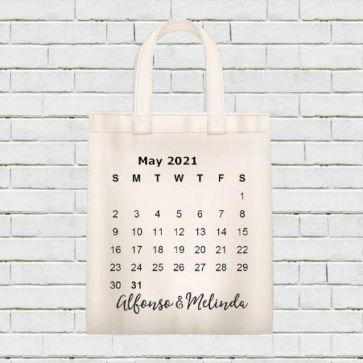 Personalised Calendar Tote Bag - May 2021 - Add Name / Text