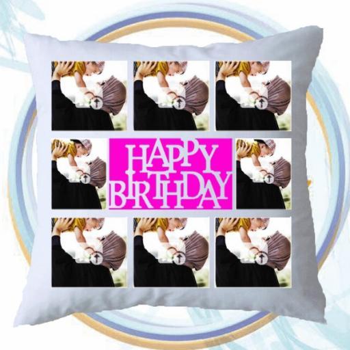 Personalised 8 Photos Collage 'Happy Birthday' Cushion