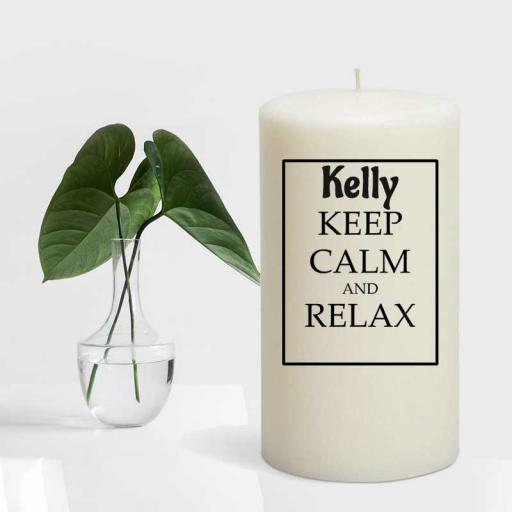 Keep Calm and Relax Personalised Candle - Add Name