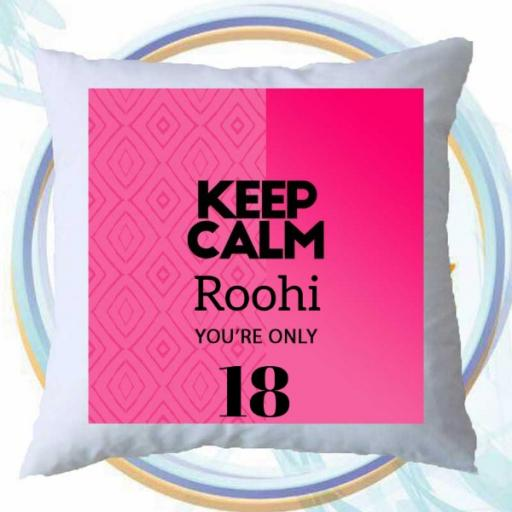 Keep Calm You're Only (AGE) - Personalised Birthday Cushion on Pink Design