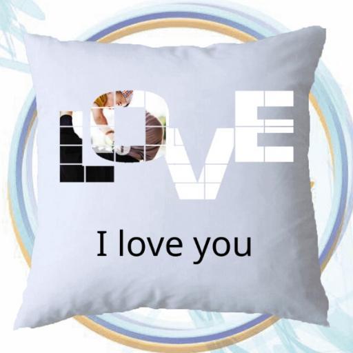 Personalised LOVE Photo Cushion - Add Photo / Message