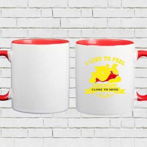 Personalised Winnie the Pooh Colour Inside Mug - 'I Like to Feel Your Heart'