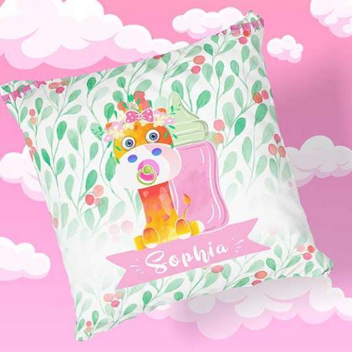 Personalised Newborn Baby Giraffe Cushion Gift - Add Name, Date