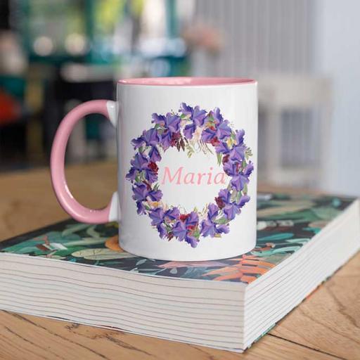 Pink-Colour-inside-Flower-Wreath-Design-Personalised-Name-Inside-Circle-Mug.jpg