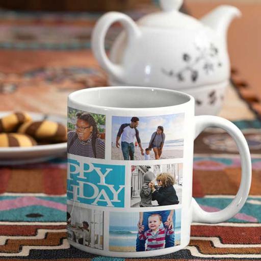 Personalised Multi Photo Happy Birthday Mug
